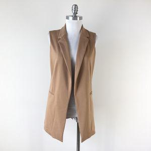 Adrienne Vittadini Camel Tan brown S open vest